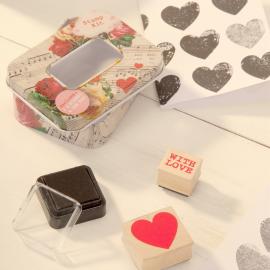 Kit tampons et encreur coeur Love