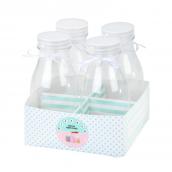 Lot de 4 mini bouteilles de lait