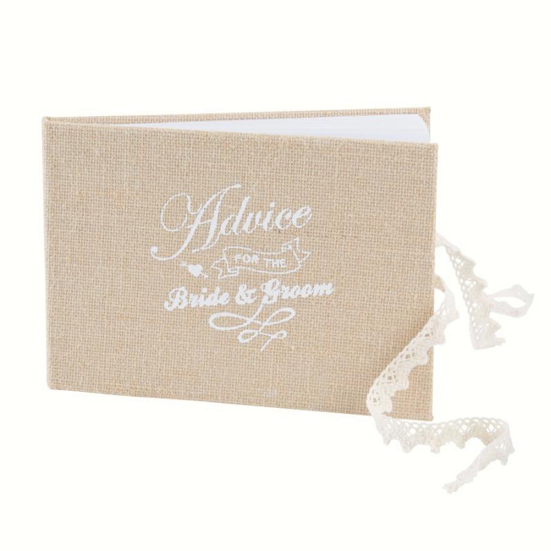 Accessoire mariage livre d 39 or vintage toile jute et dentelle - Livre d or toile de jute ...