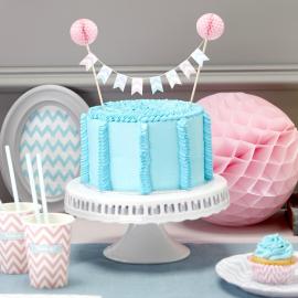 Décoration gâteau fanions chevron et boules papier