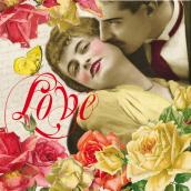 Serviettes papier In love rétro - Lot de 20