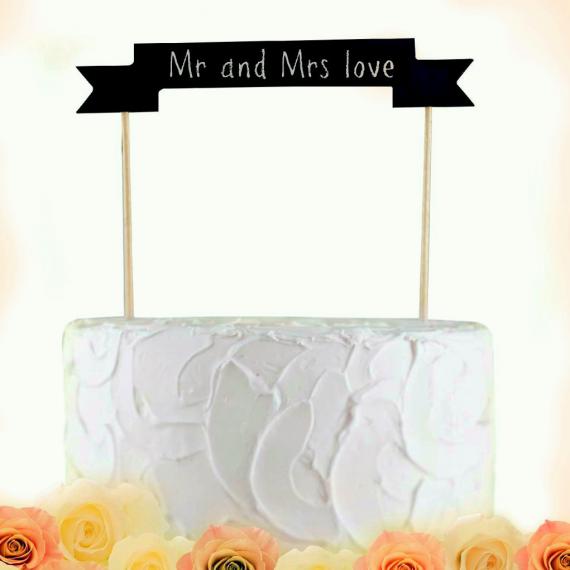 Décoration gâteau ardoise banderole