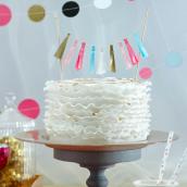Décoration gâteau guirlande tassel confettis party