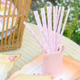 Pailles papier rayures roses - Lot de 24