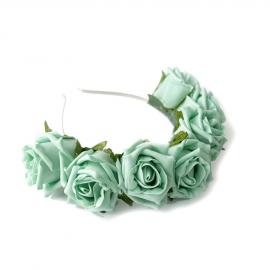 Couronne bandeau roses vert menthe et feuilles