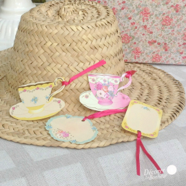 Etiquettes marque-place tea party - Lot de 24