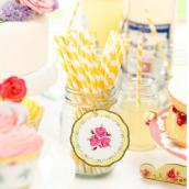 Etiquettes marque-place tea party - Lot de 24