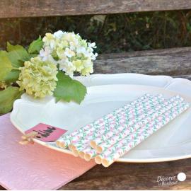 Pailles papier blanc et fleurettes - Lot de 25