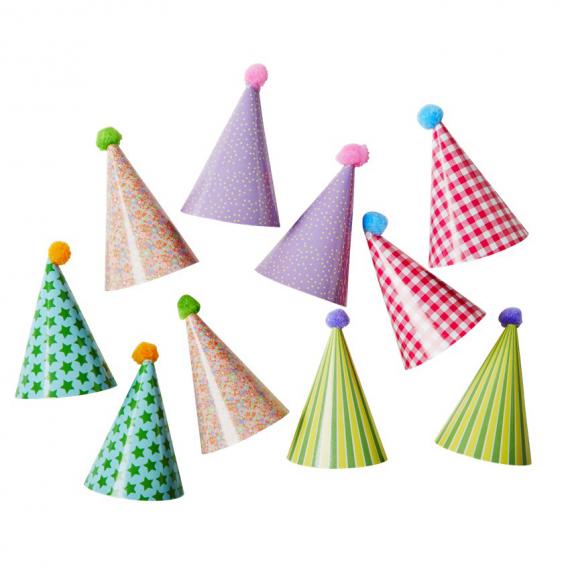 Mini chapeaux cônes de fête - Lot de 10