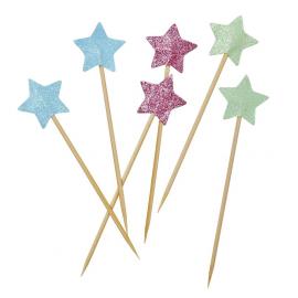 Piques étoiles pailletées - Lot de 6