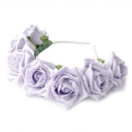 Couronne bandeau de roses Lilas et feuilles