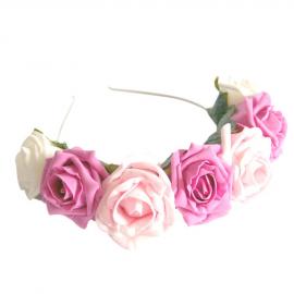 Couronne bandeau roses panachées et feuilles