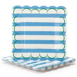 Grandes assiettes carrées feston rayures bleues