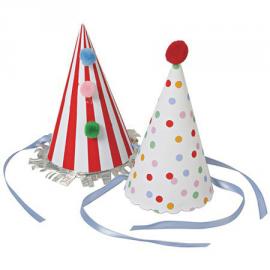 Chapeaux cônes de fête conffetis multi - Lot de 8