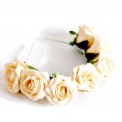 Couronne bandeau de roses cream et feuilles