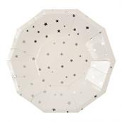 Assiettes octogonales étoiles argentées