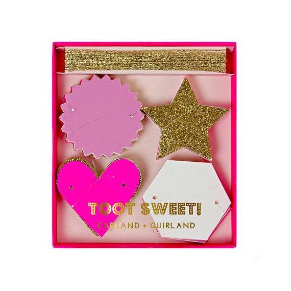 Guirlande paillettes glam rose et or