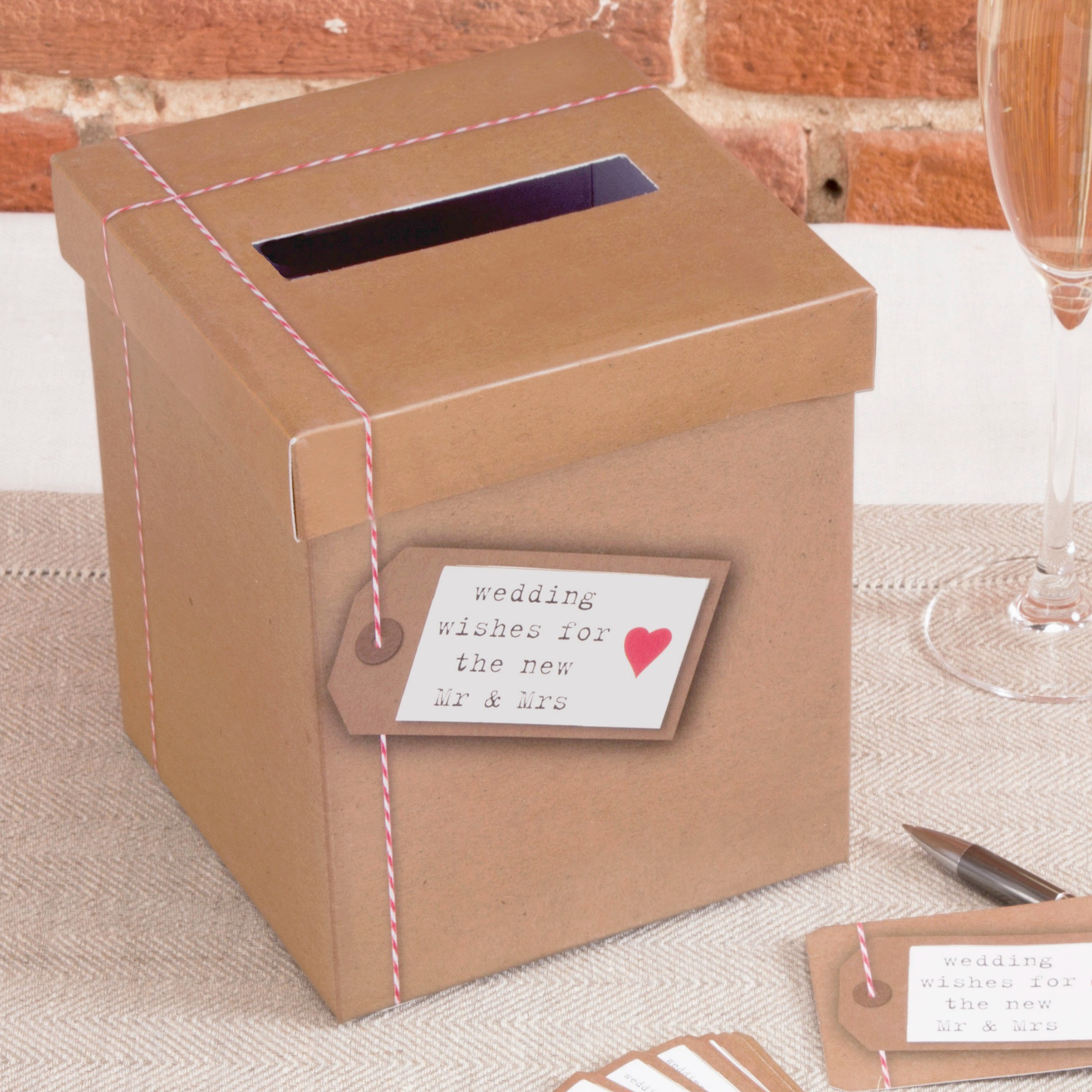 accessoire mariage urne coeur vintage kraft