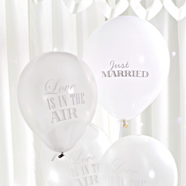 Ballons mariage love blanc & argent