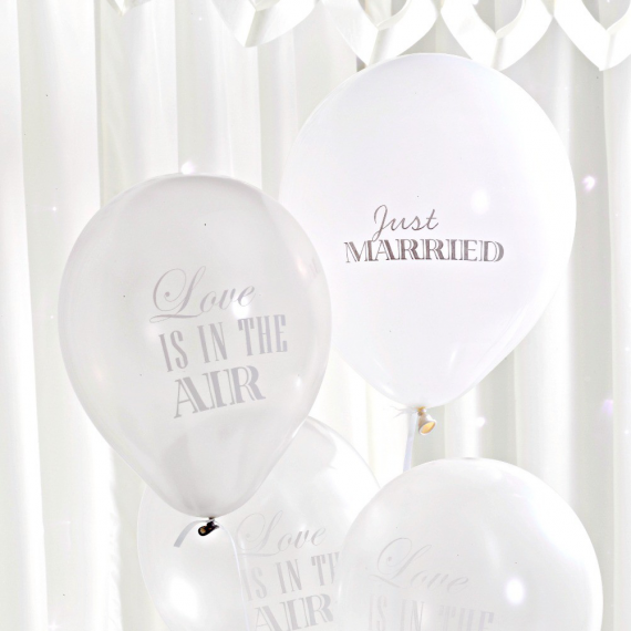 Ballons mariage love blanc & argent