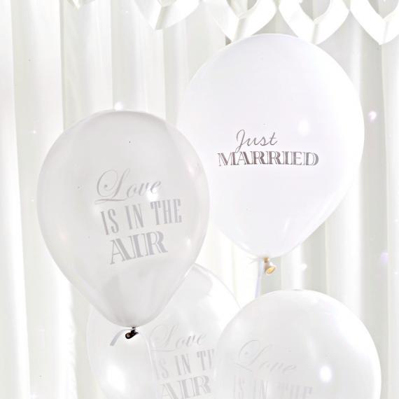 Ballons mix love blanc & argent - Lot de 8