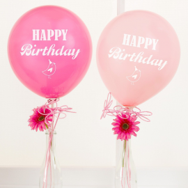 Ballons pink mix Happy birthday - Lot de 8