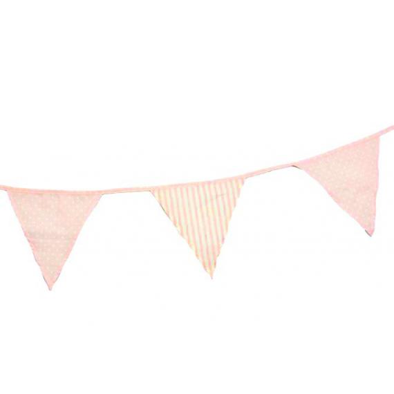 decoration de bapt me guirlande fanions tissu rose patch mix. Black Bedroom Furniture Sets. Home Design Ideas