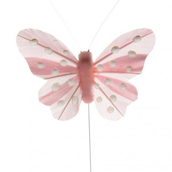Papillons roses pastel et pois blancs - Lot de 4
