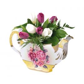 Vase théière vintage flowers