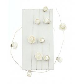Guirlande mini roses blanches fil métal - 1 mètre