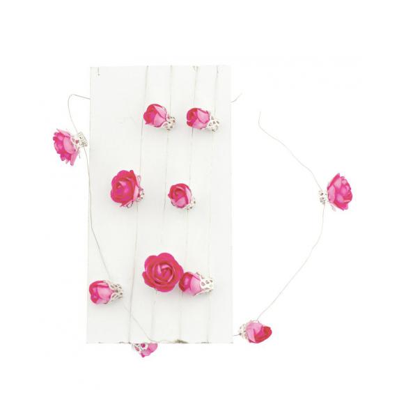 Guirlande mini roses fuschia fil métal - 1 mètre
