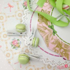Mini pinces macaron pistache - Lot de 8