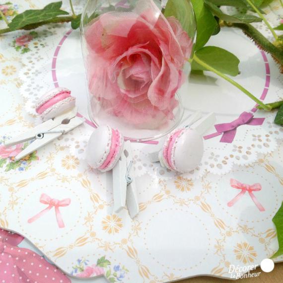 Mini pinces macaron rose - Lot de 6