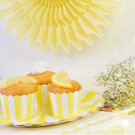 Caissettes cupcake rayures jaunes - Lot de 24