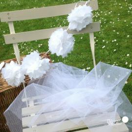 Guirlande de pompoms blancs