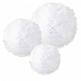 Grands pompoms blancs