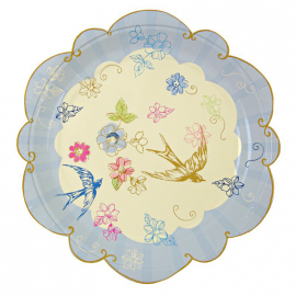 Assiettes blue bird romance - Lot de 12