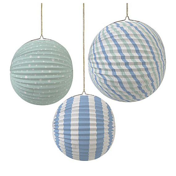 Lanternes rondes accordéon blue mix - Lot de 3