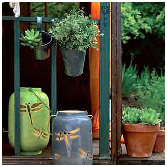 Lanterne céramique Libéllule verte