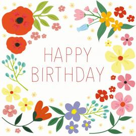 Carte anniversaire Happy flowers - sous blister et enveloppe