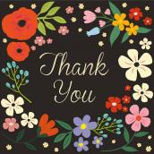 Carte remerciement chic flowers - sous blister avec enveloppe