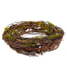 Grande couronne bois et mousse - 37 cm Diam