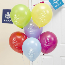 Ballons multi keep calm & party - Lot de 8