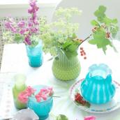 Vase verre arty opaline green