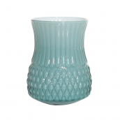 Vase verre arty opaline petrol