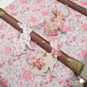 Etiquettes lapin vintage flower - Lot de 15