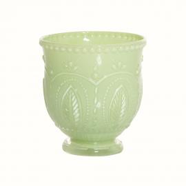 Vase verre tulipe opaline green