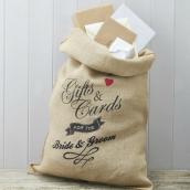 Sac rétro cadeaux et enveloppes des mariés