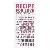 Pancarte planches rétro recette de l'amour