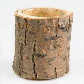 Vase photophore rondin écorce bois